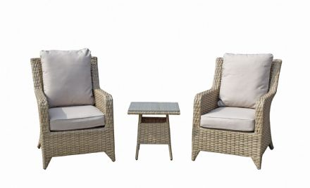 Sarah High back 3 piece lounge set with table in Natural with Beige cushions